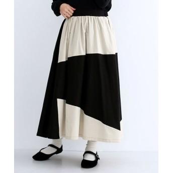 (merlot/メルロー)バイカラー切り替えスカート/レディース ブラック