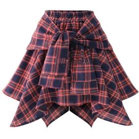 フレアスカート 女性のハイウエストスカート弾性ウエストAライン不規則なチェック柄プリント柄カジュアルスカート (Color : Red, Size : Free size)