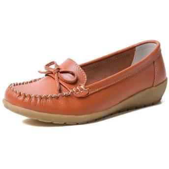 MMA-LX Woman High-heeled Shoes レディースカジュアルシューズソリッドカラーのラウンドヘッド縫製ボウ装飾浅い口ラバーソール滑り止め (Color : Orange, Size : 41 EU)