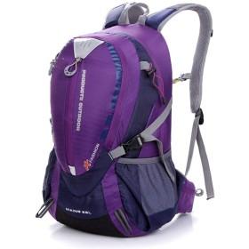 登山バッグ 大容量メンズハイキング防水バックパックアウトドアハイキング 旅行キャンプ用 (Color : Purple)