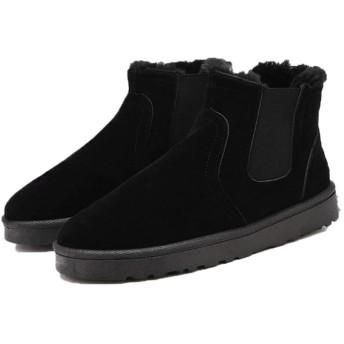 [GUREITOJP] メンズ ムートンブーツ ボア付き 冬用ブーツ 防寒 滑り止め サイドゴア 保温 おしゃれ カジュアル 歩きやすい 快適 柔らかい 通学 通勤 コンフォート あったか スノーブーツ ブラック・スエード調