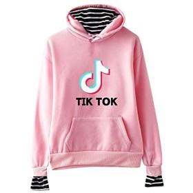 印刷する パーカーTIKプルオーバーコットンスウェットファッションのためにザ・アウトドアアクティビティ男と女TOKストライプパーカー 路肩に寄せて下さい (Color : TPink, Size : XXS)