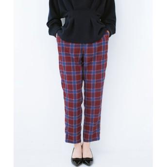 (haco!/ハコ)着るだけでこなれた雰囲気になる オトナチェックパンツ byMAKORI/レディース パープル系その他