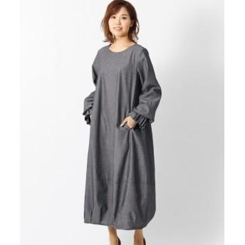 キャンディスリーブ裾タックバルーンゆるシルエットワンピース(オトナスマイル) (大きいサイズレディース)ワンピース, plus size dress