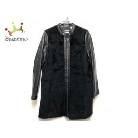 ダナキャラン DKNY JEANS コート サイズL レディース 黒 ジップアップ/フェイクファー/春・秋物 新着 20200107