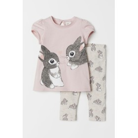 H & M - Tシャツ&レギンス - ピンク