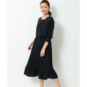 7分袖プリーツ切替ワンピース (大きいサイズレディース)ワンピース, plus size dress, 衣裙, 連衣裙