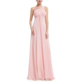 ロングドレス カラードレ レディースエレガントワンショルダーサイドフロアレングスのイブニングドレスレディパーティーマキシスカート 多彩 花嫁の介添え 通勤 二次会 (Color : Pink, Size : 2)