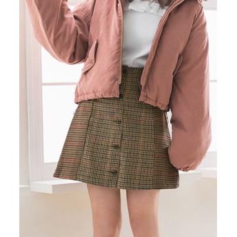 (YUMETENBOU/ユメテンボウ)バイカラーチェック台形ミニスカート/レディース カーキ