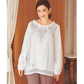 綿100%刺しゅうブラウス(オトナスマイル) (大きいサイズレディース) plus size shirts, 衫, 襯衫