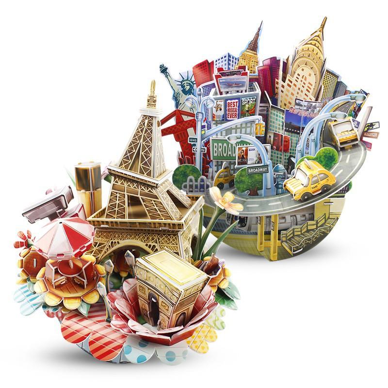 樂立方3D立體拼圖城市縮影燈光版巴黎紐約迪拜倫敦玩具紙模型建筑