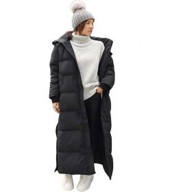 【MIAOMISE】 ダウンコート 90%ダウン 超ロング Aライン 帽子付き フード 撥水 ダウンジャケット 着痩せ 軽量 大きいサイズ 黒 ブラック 無地 厚手 アウター 冬服 防寒着 おしゃれ あったか レディース 女性用 (XL, ブラック)