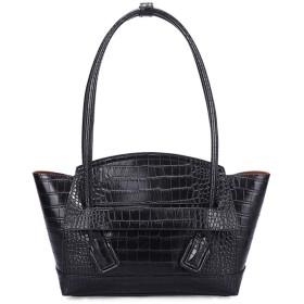 Rjj ファッションソリッドカラークロコダイルテクスチャレディースハンドバッグクリエイティブPUレザー軽量ショッピングショルダーバッグトートバッグ(27  9.5  23.5cmの) 絶妙な (色 : Black)
