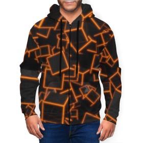カラー 立方体 人気 パーカー メンズ ボタン スウェット コート 厚手 裏起毛 トップス 3D 長袖 服 フード付 春 秋 冬 トップス ジップアップ