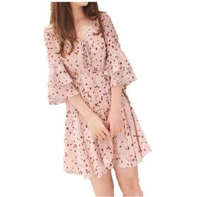女性 レジャー 甘い Vネック 花柄 ゆるい 蓮の葉 半袖 ショート デートに適しています シフォン A型スカート ワンピース、パーティー ドレス シャツワンピース ミニ ボディコン ワンピース、おしゃれ ワンピース レース ドレス 上品 ファッション フォーマルウェア (ピンク, S)