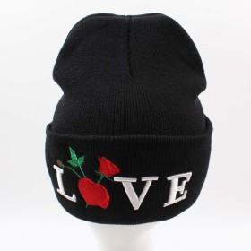 帽子 女性男性ローズ刺繍サベージビーニー帽子刺繍入りフラワーニットは暖かいアウトドアSkulliesキャップキャップ ニット帽 (Color : 4)