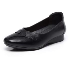 女性のローファーさ2cm / 0.8 ラウンドクローズドつま先でヒールスリップソリッドカラープレミアムレザースプライシングリーフパターンアッパーラバーソールファッション快適な靴のためにフラッツ レジャーShoes (Color : Red, Size : 35 EU)