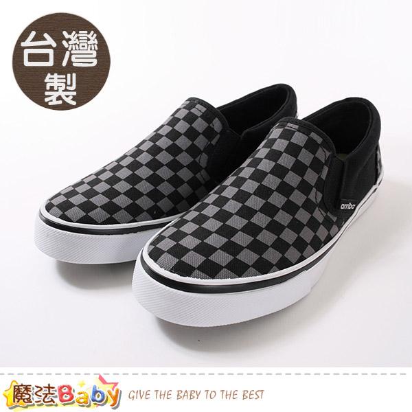男鞋 台灣製時尚潮流菱格紋帆布鞋 魔法Baby~sd7096