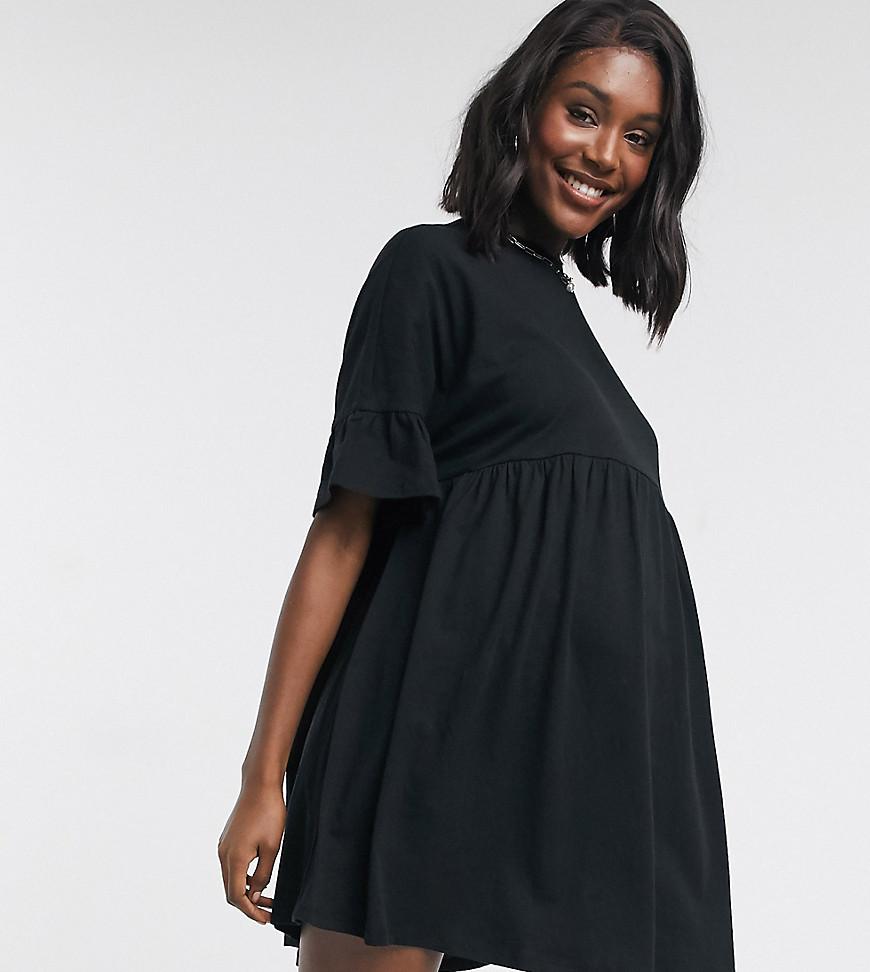ASOS DESIGN Maternity super oversized frill sleeve smock dress in black