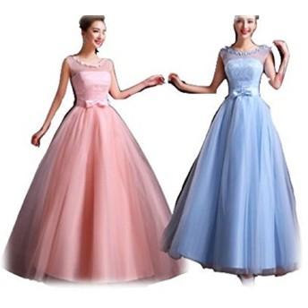 【シンプル 小花 ロングドレス】水色とピンクと二種類から選べます。S〜XLまでサイズ豊富 コンサート パーティ 謝恩会などに (S, ピンク色)