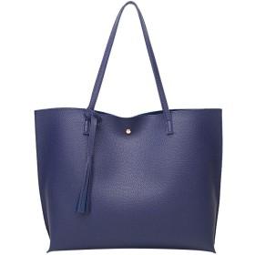 Qukick 女性PUレザー女性のハンドバッグ女性ショルダーバッグデザイナーラグジュアリーレディートート大容量のショルダーバッグ#Y (色 : 青)