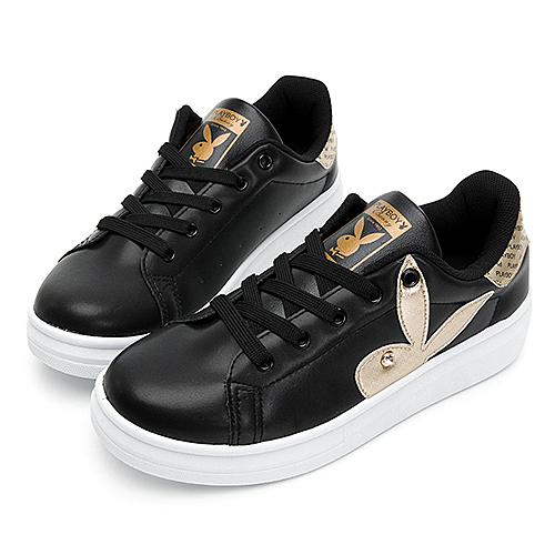 PLAYBOY 後跟品牌徽標厚底休閒鞋 黑 Y5718CC