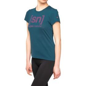 [エスエヌ スーパーナチュラル] Tシャツ ヨガ・メリノウール・アウトドアTシャツ レディース SNW004783 Legion Blue/Rasperry Rose Logo EU M (日本サイズL相当)