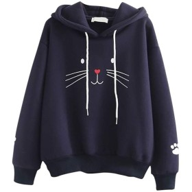 LilyAngel Womailトレーナー女性パーカースウェットプルオーバートップ猫印刷シャツ長袖カジュアルルーズブラウス (色 : NY, サイズ : S)