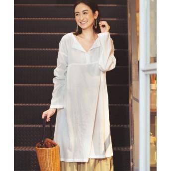 【大きいサイズ】 綿100%ストライプ柄織スキッパーシャツチュニック(オトナスマイル) plus size tops, テレワーク, 在宅, リモート