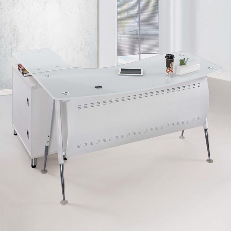 【SA238-2】 烤漆白色6尺辦公主桌(面左)