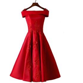 ショートイブニングパーティーカクテルドレスレディースレトロレッドワンショルダーのウェディングドレス (Color : B, Size : XL)