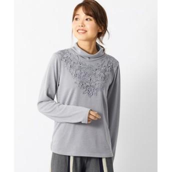 レースデザインニットソープルオーバー(オトナスマイル) (大きいサイズレディース)plus size T-shirts