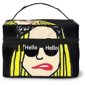 化粧ポーチ メイクボックス HELLO ガール コスメボックス 化粧バッグ 大容量収納ケース トラベルバッグ 小物入れ 収納ボックス 洗面用具入れ 出張 旅行 家用 收納抜群 ファスナー