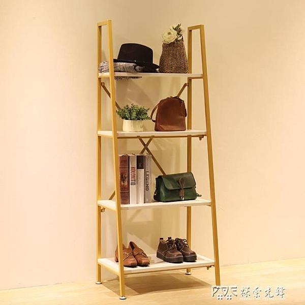 服裝店鞋架包包置物陳列架  鞋包包店展示架櫃多層  賣鞋金色貨架ATF 探索先鋒