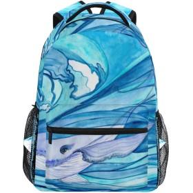 MISCERYリュックサック,水彩の手描きの青い木尾,大容量の学生の子供のバックパックの若者の男性と女性は、ファッション性格カスタムパターン旅行バッグ耐久性のあるスポーツアウトドアを