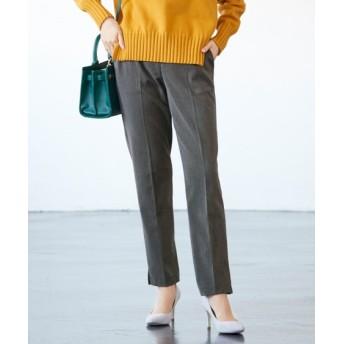 お腹まわりすっきりヘリンボン9分丈パンツ(ゆったりヒップ) (大きいサイズレディース)パンツ, plus size pants