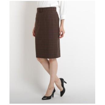 ◆【洗える】グレンチェックベルト付きスカート