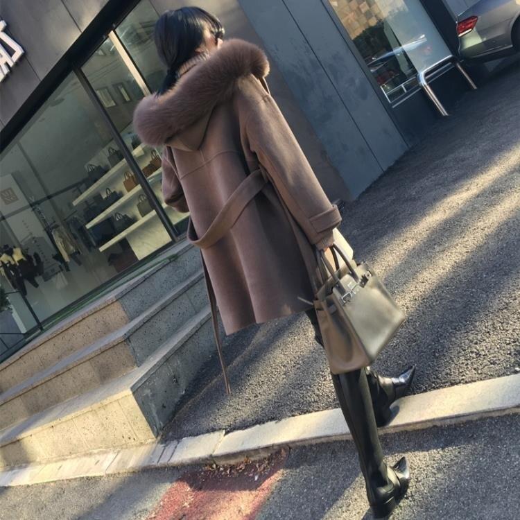 樂天優選—呢子外套 大毛領連帽大衣女2019新款韓版寬松顯瘦雙面呢中長款外套秋冬