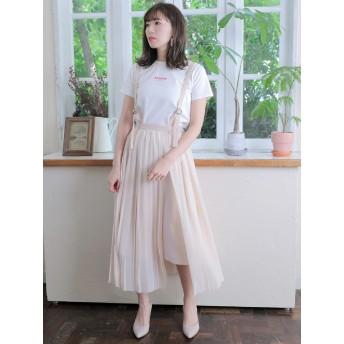 【6,000円(税込)以上のお買物で全国送料無料。】サスペンダー付き2Wayプリーツスカート