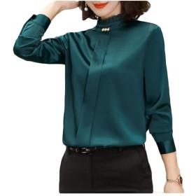 Genry 女性の気質のシャツ専門のシャツラウンドネック長袖シャツ (Color : Green, Size : M)