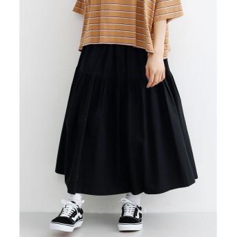 メルロー merlot コットンティアードギャザースカート (ブラック)