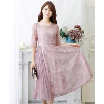 (PourVous/プールヴー)ラップスカートプリーツドレス・結婚式・お呼ばれワンピース・パーティードレス/レディース ピンク