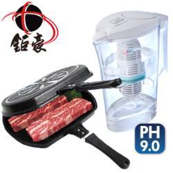 【鉅豪】韓國不沾雙面煎烤鍋+鹼單喝濾水壺