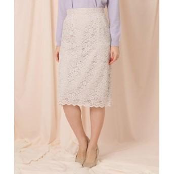 Couture Brooch/クチュールブローチ 【WEB限定サイズ(LL)あり】レーススカラップタイトスカート ライトベージュ(051) 42(LL)