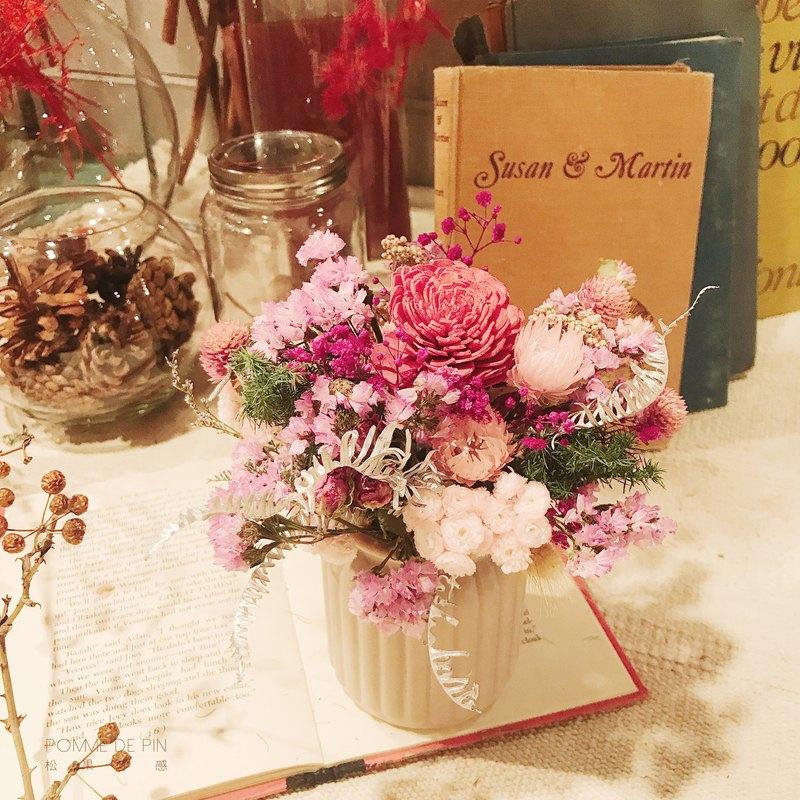 牛奶桶盆花   送禮首選 客製化 乾燥花 永生花  媽媽 女人 母親節