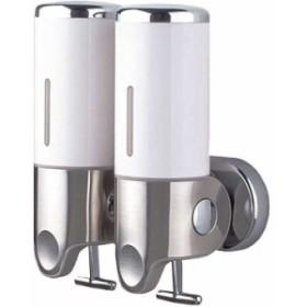 ソープディスペンサー 壁掛け 手動 浴室 洗面所 詰替え シャンプー ホワイト(b.ホワイト(1000ml 2連))