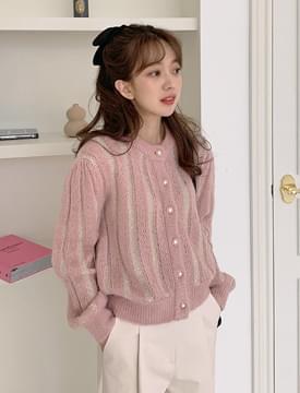 韓國空運 - Shine gold wool cardigan_J  (size : free) 針織外套