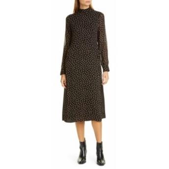 ガニー GANNI レディース ワンピース ミドル丈 ワンピース・ドレス Print Long Sleeve Midi Dress Black