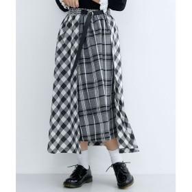 メルロー merlot チェック柄アシンメトリーラップスカート (ブラック)