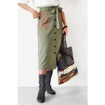 (FREE'S MART/フリーズマート)◆フロント釦配色切替Aラインスカート/レディース カーキ×ブラウン1